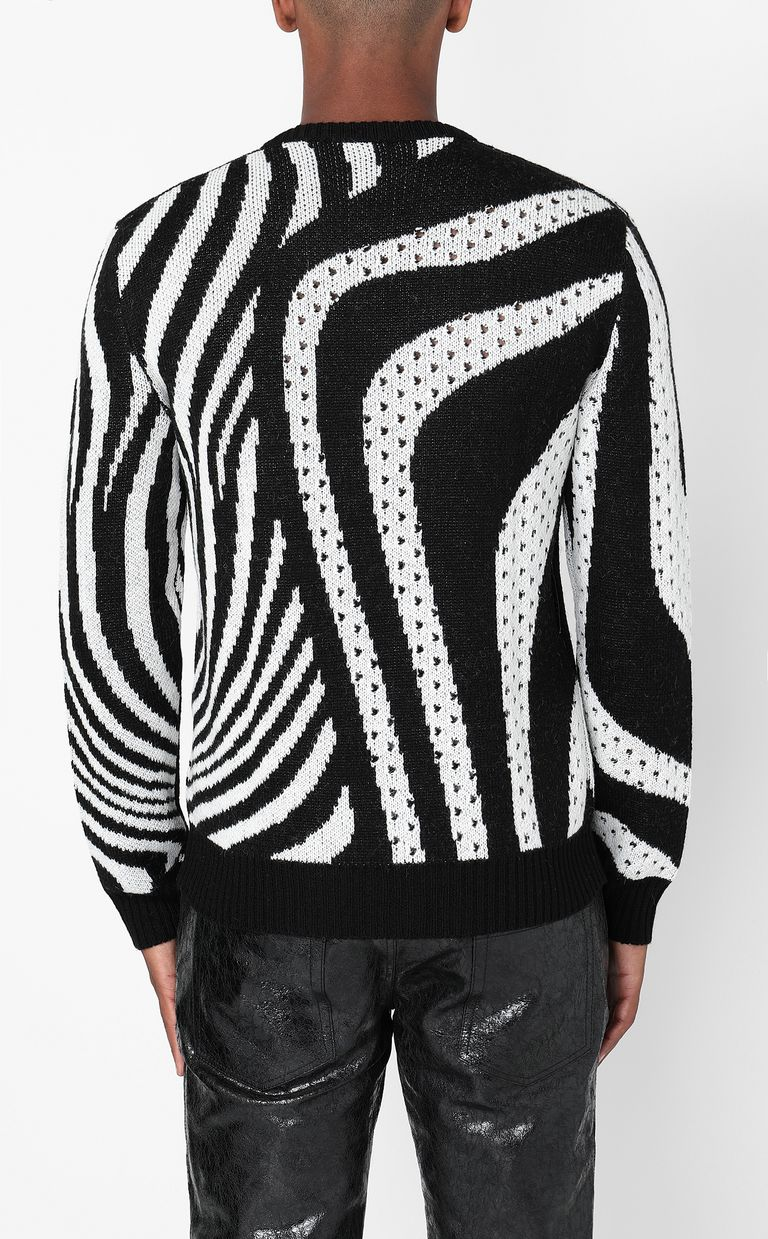 JUST CAVALLI Pullover with Optical-Zebra pattern Long sleeve sweater Man a