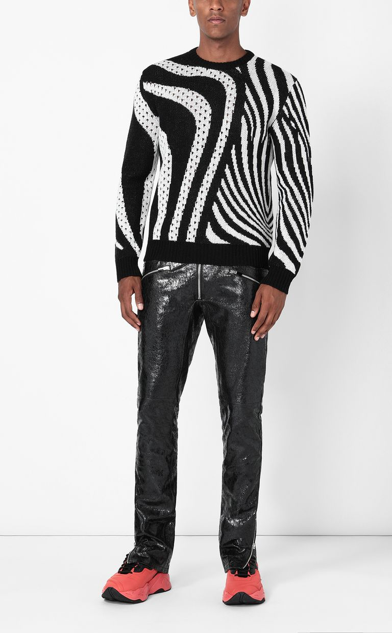 JUST CAVALLI Pullover with Optical-Zebra pattern Long sleeve sweater Man e