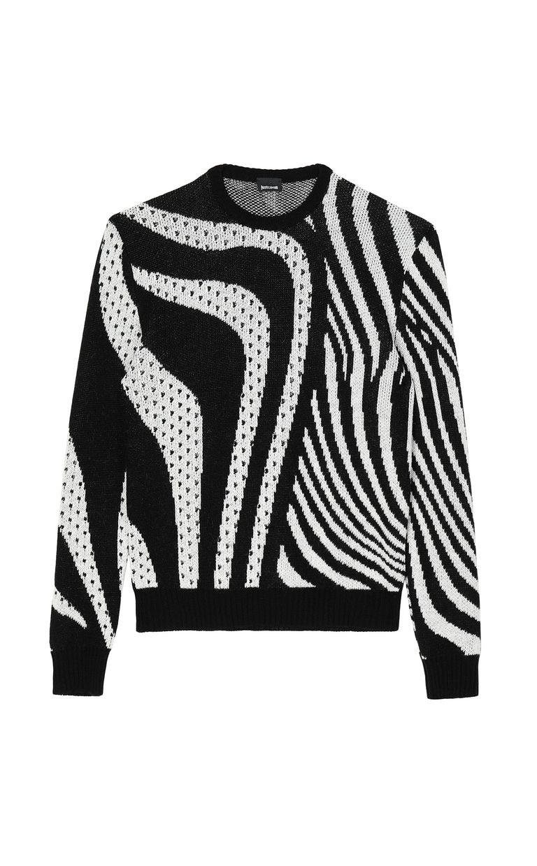 JUST CAVALLI Pullover with Optical-Zebra pattern Long sleeve sweater Man f