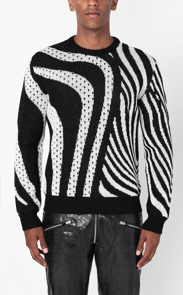 JUST CAVALLI Pullover with Optical-Zebra pattern Long sleeve sweater Man r