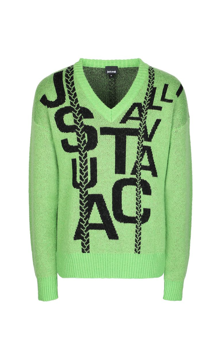 JUST CAVALLI Pullover with logo V-neck Man f