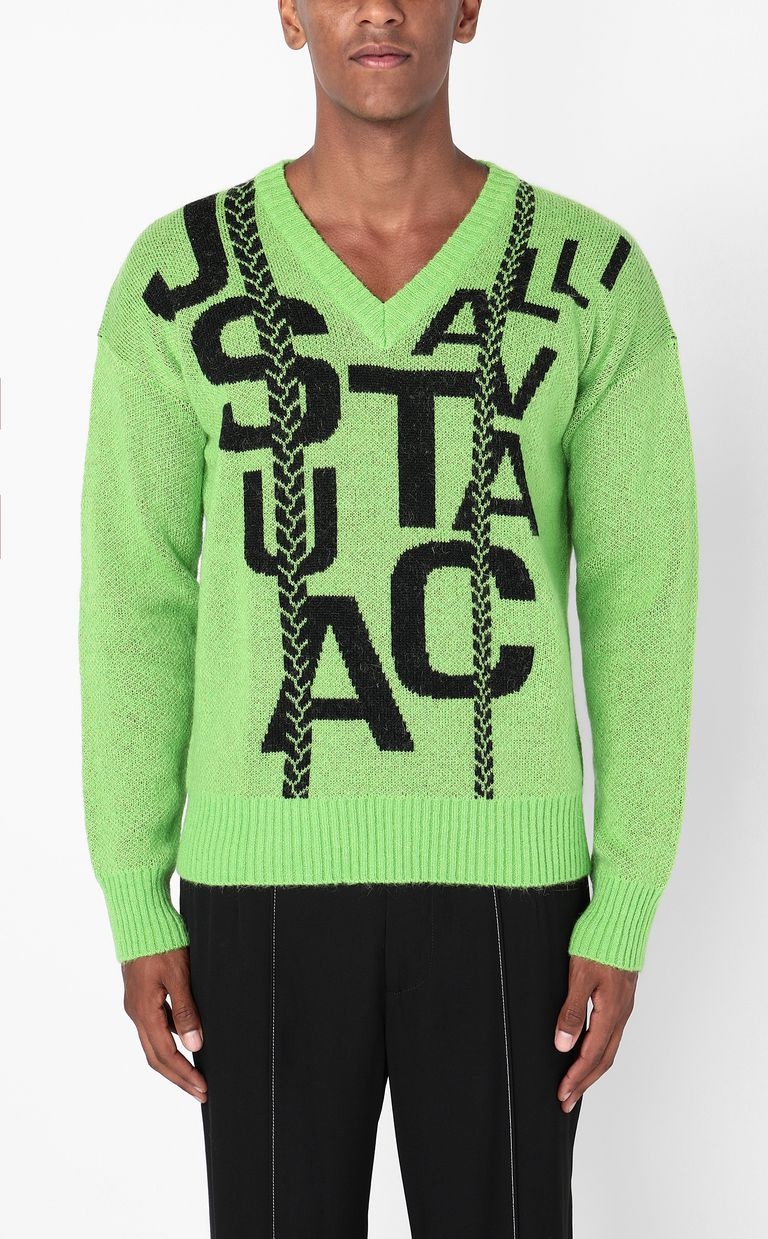 JUST CAVALLI Pullover with logo V-neck Man r