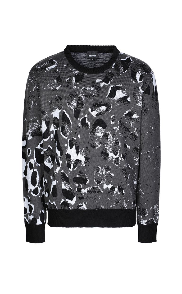 JUST CAVALLI Pullover with Strange-Leo pattern Long sleeve sweater Man f