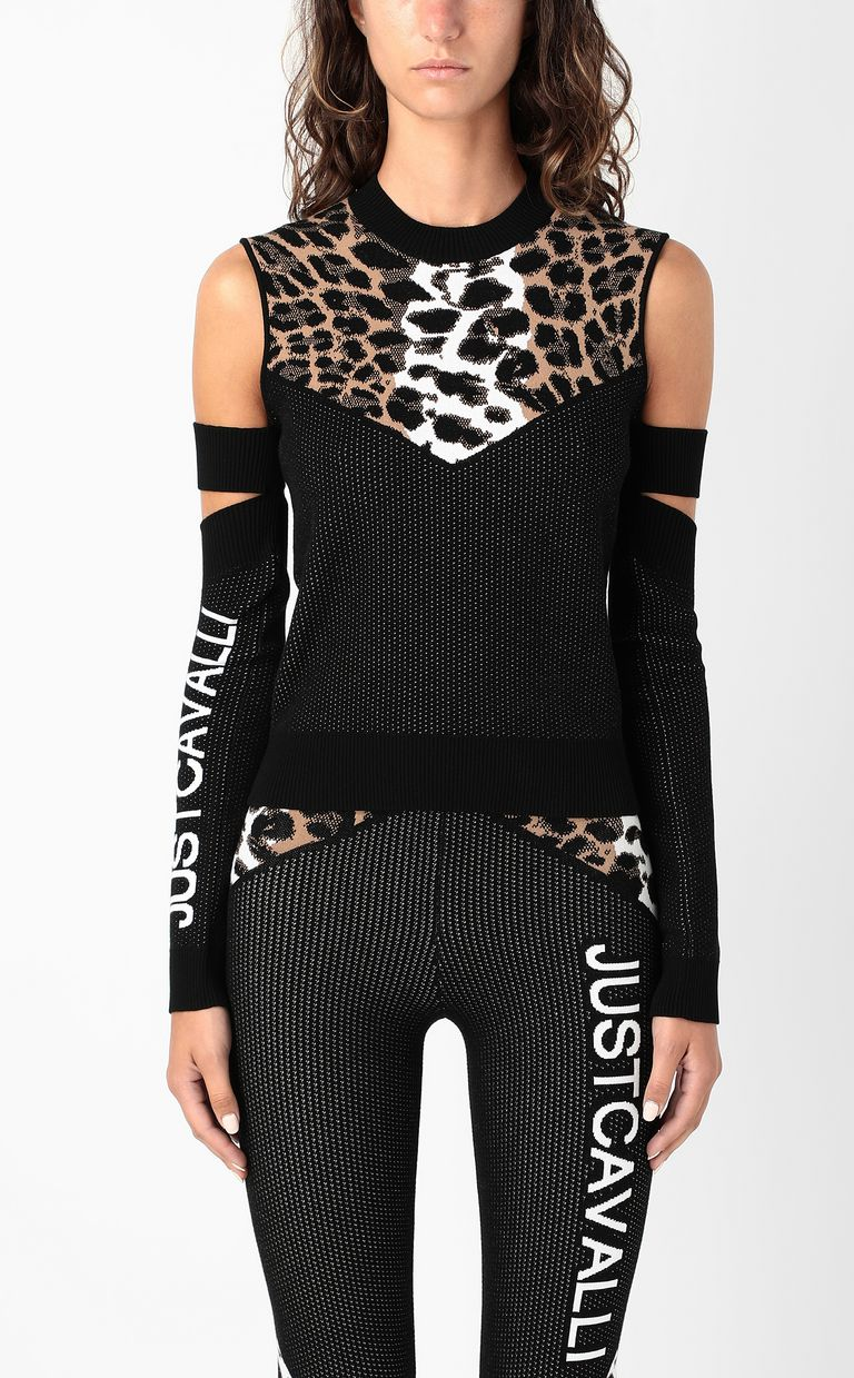 JUST CAVALLI Top with animal patterning Sweater Woman r