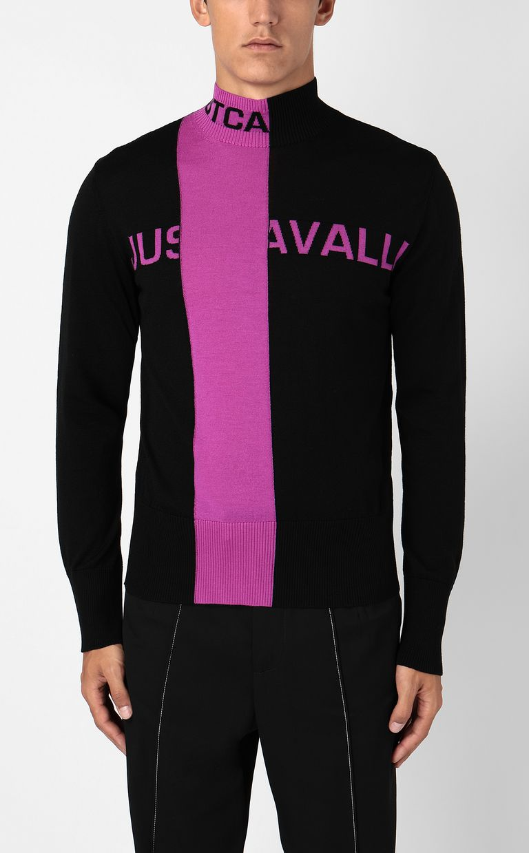 JUST CAVALLI High-neck pullover with logo High neck sweater Man r