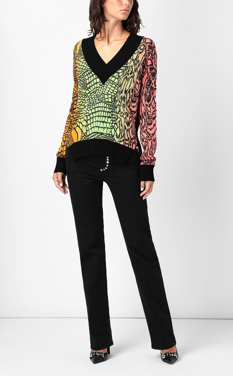 JUST CAVALLI Top with Reptilia pattern V-neck Woman d