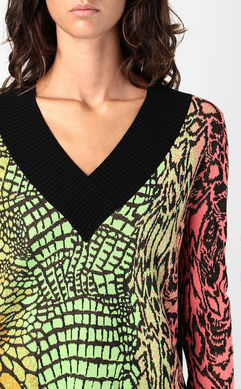 JUST CAVALLI Top with Reptilia pattern V-neck Woman e