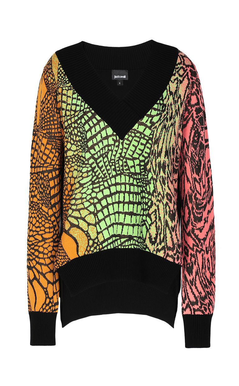 JUST CAVALLI Top with Reptilia pattern V-neck Woman f