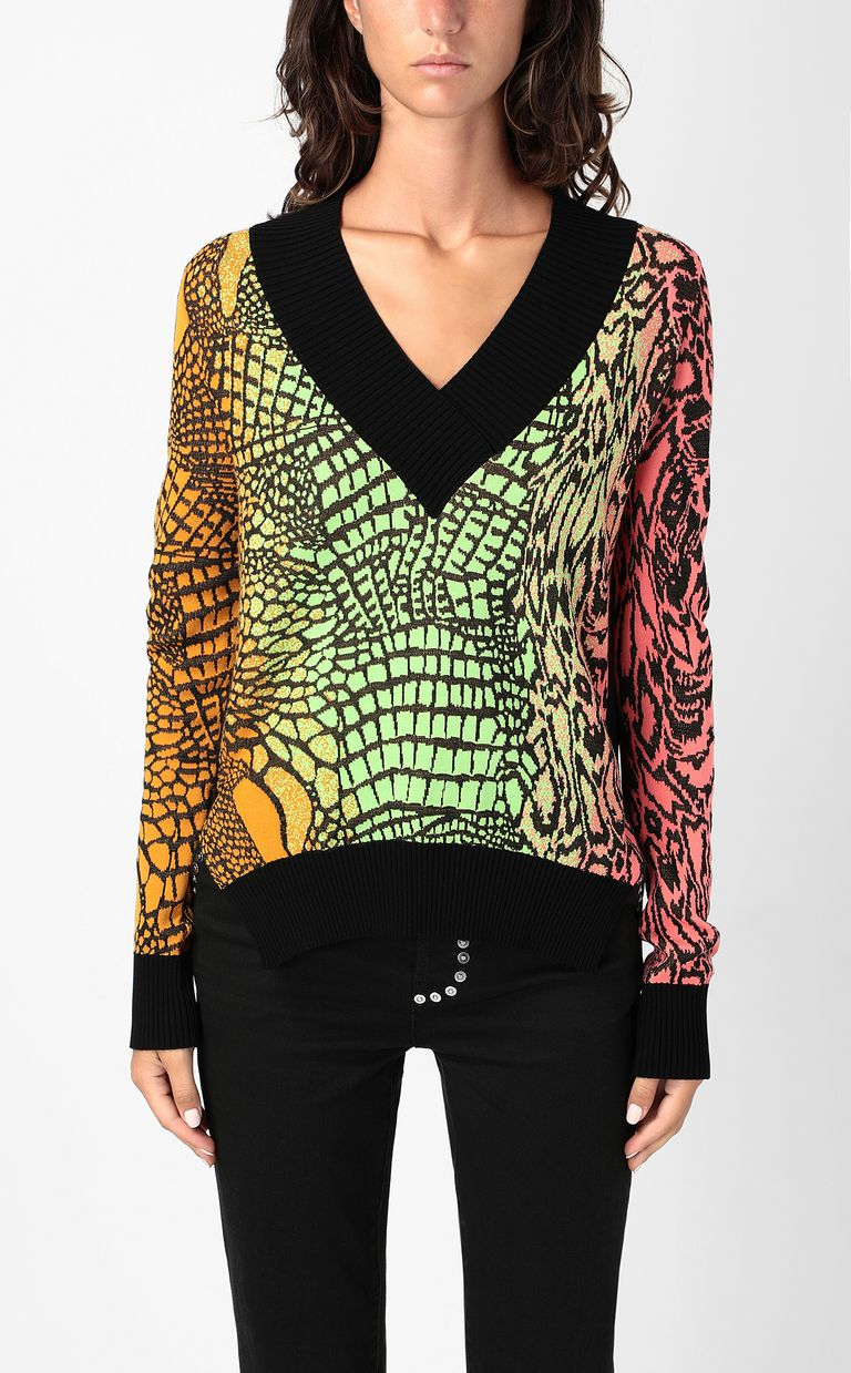 JUST CAVALLI Top with Reptilia pattern V-neck Woman r