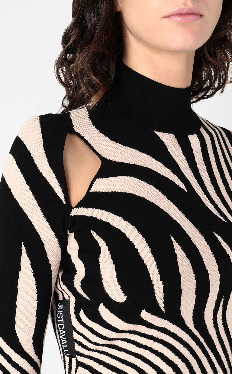 JUST CAVALLI High-neck zebra-stripe top High neck sweater Woman e