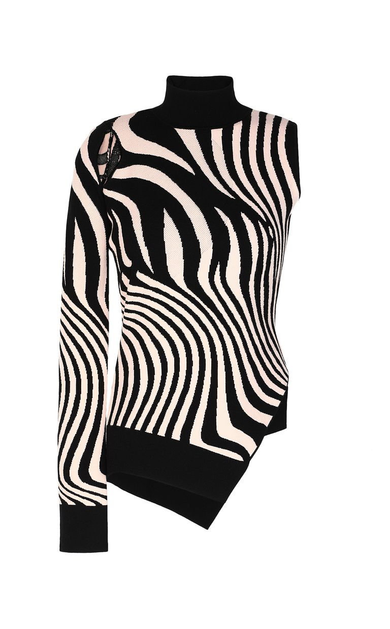 JUST CAVALLI High-neck zebra-stripe top High neck sweater Woman f