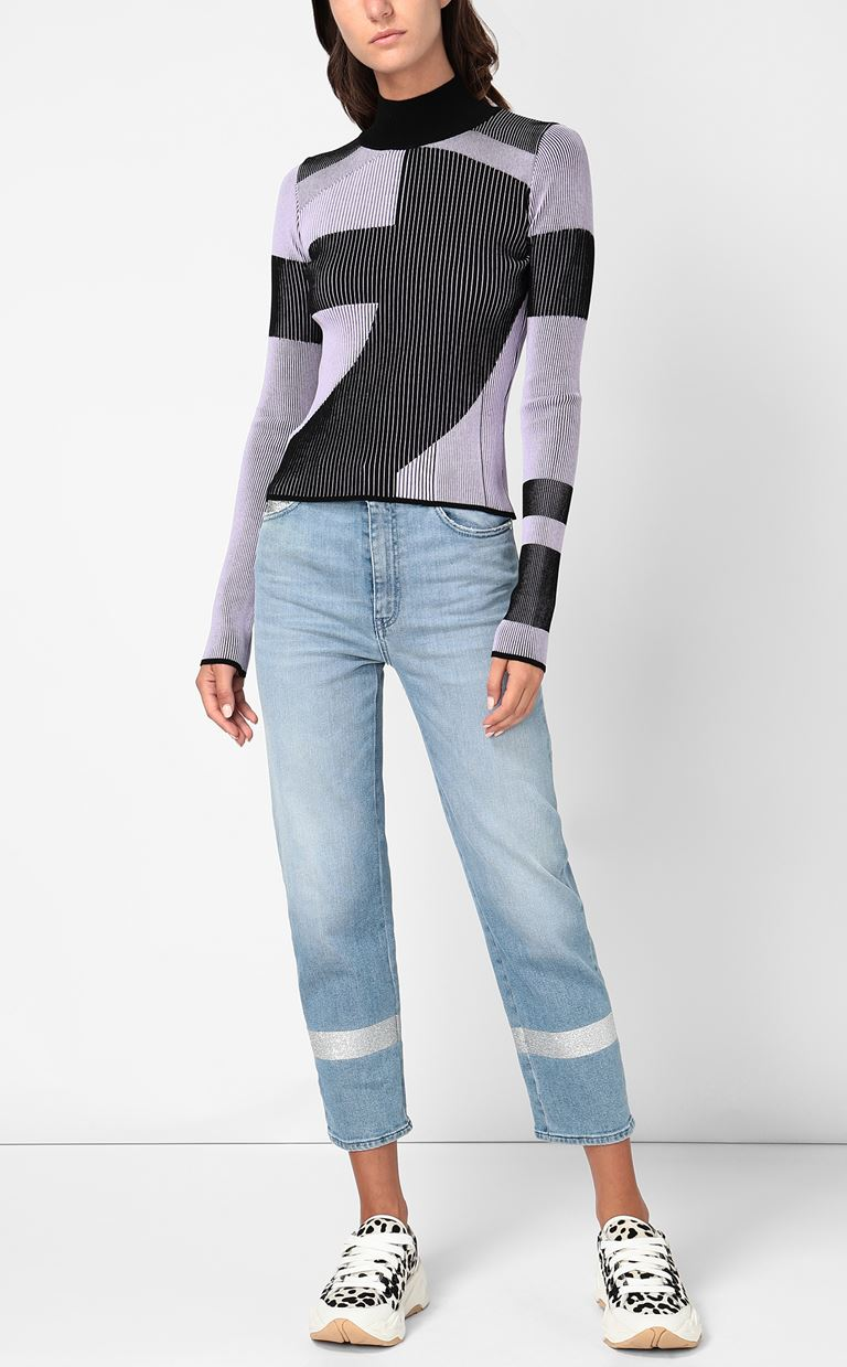 JUST CAVALLI Top with geometrical patterning High neck sweater Woman d