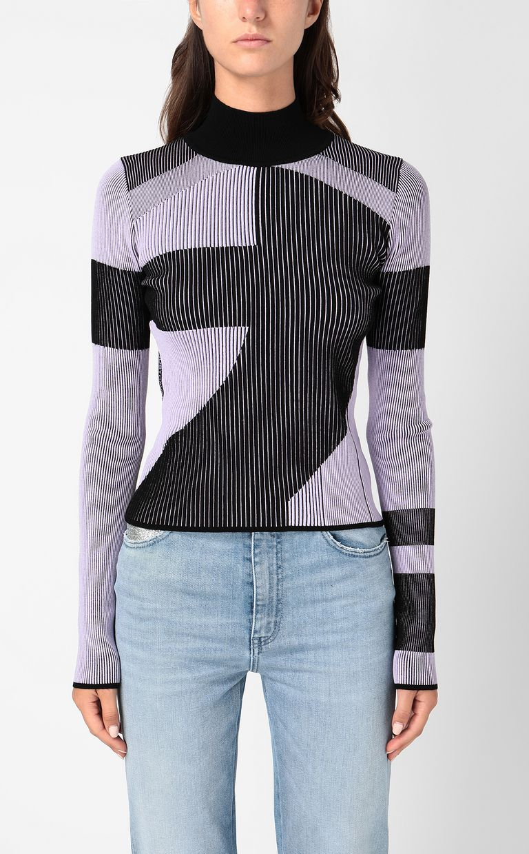 JUST CAVALLI Top with geometrical patterning High neck sweater Woman r