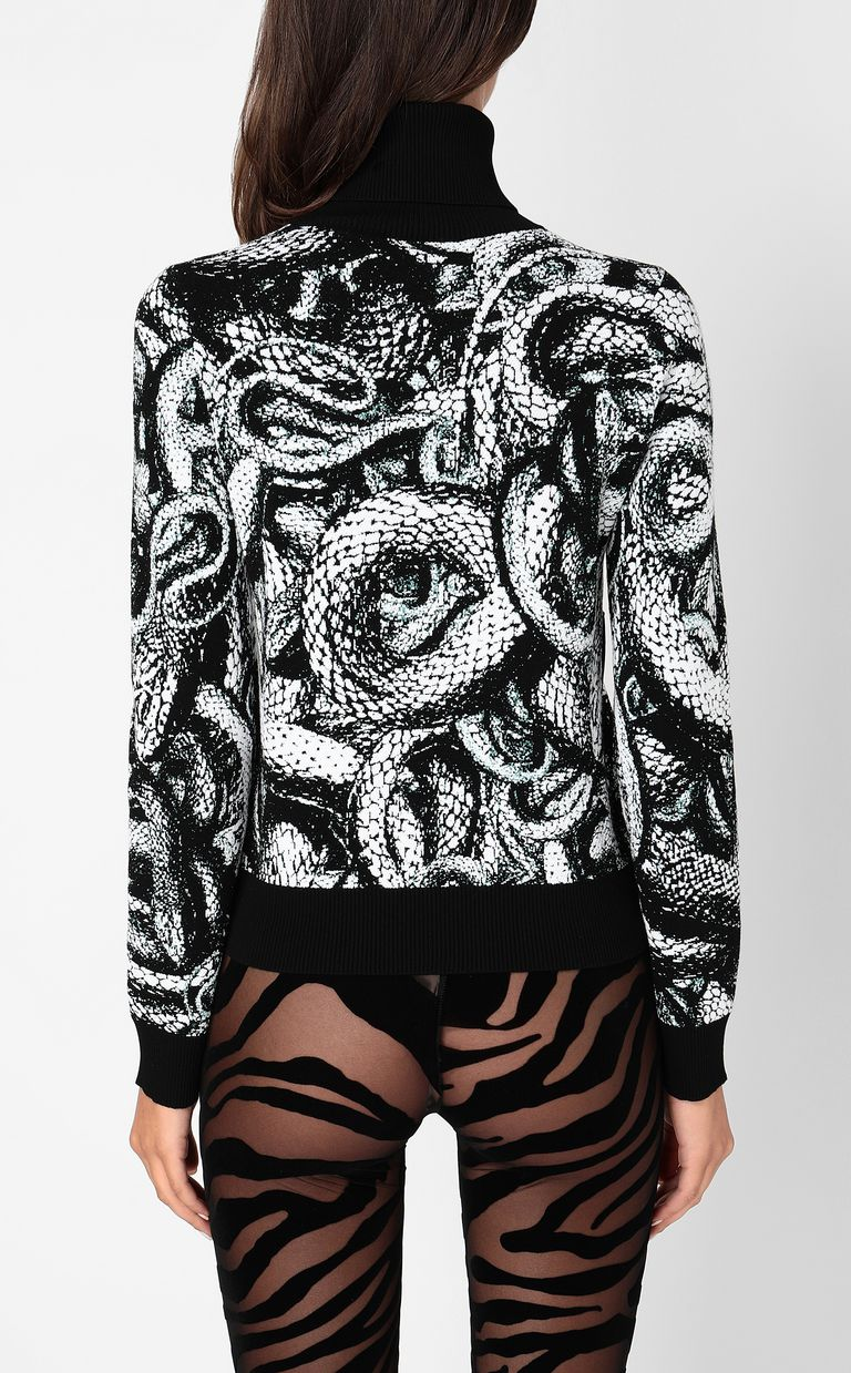 JUST CAVALLI Top with Endless-Snake motif High neck sweater Woman a