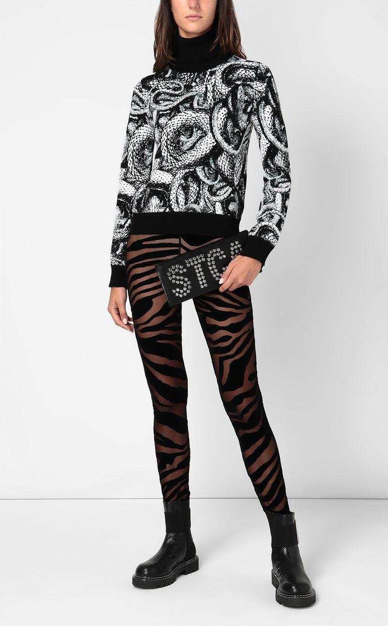JUST CAVALLI Top with Endless-Snake motif High neck sweater Woman d
