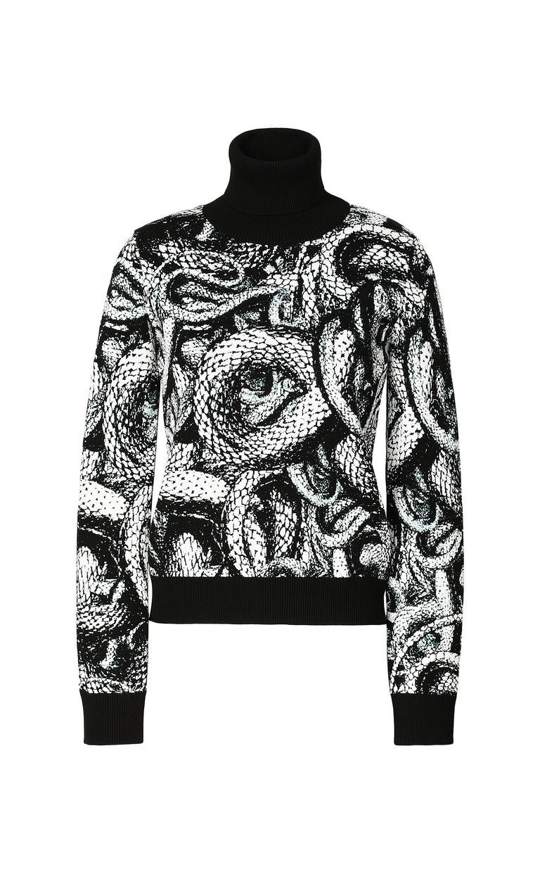 JUST CAVALLI Top with Endless-Snake motif High neck sweater Woman f