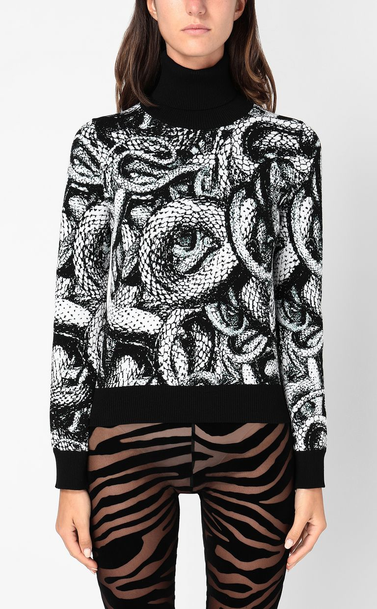 JUST CAVALLI Top with Endless-Snake motif High neck sweater Woman r