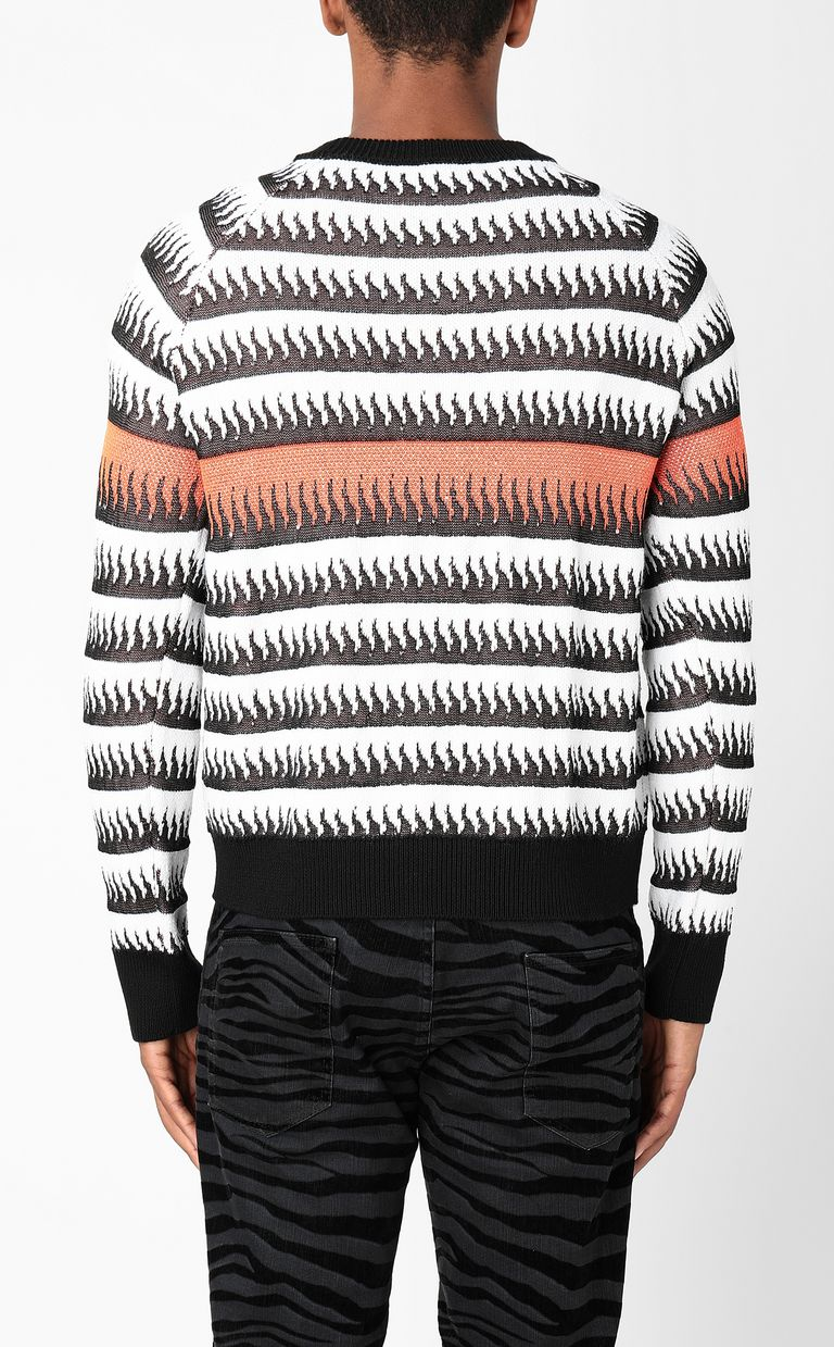 JUST CAVALLI Pullover with flames pattern Long sleeve sweater Man a
