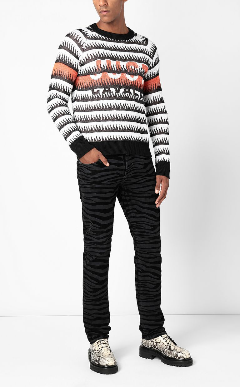 JUST CAVALLI Pullover with flames pattern Long sleeve sweater Man d