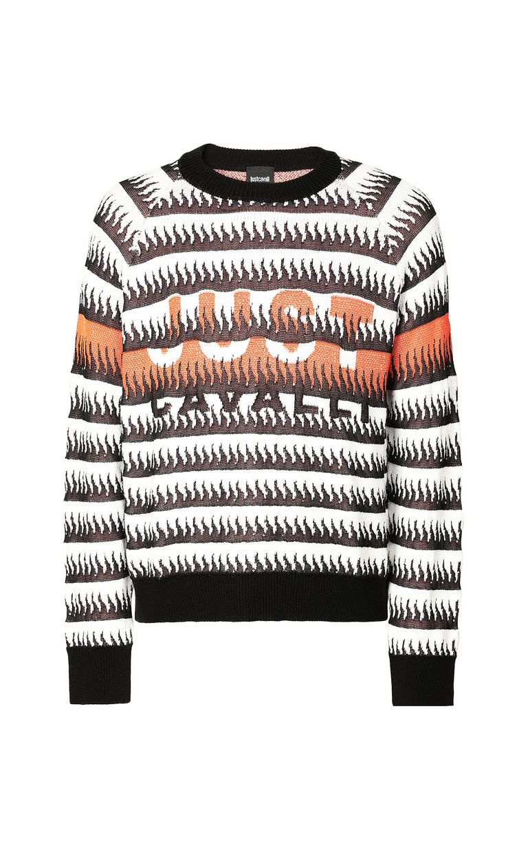 JUST CAVALLI Pullover with flames pattern Long sleeve sweater Man f