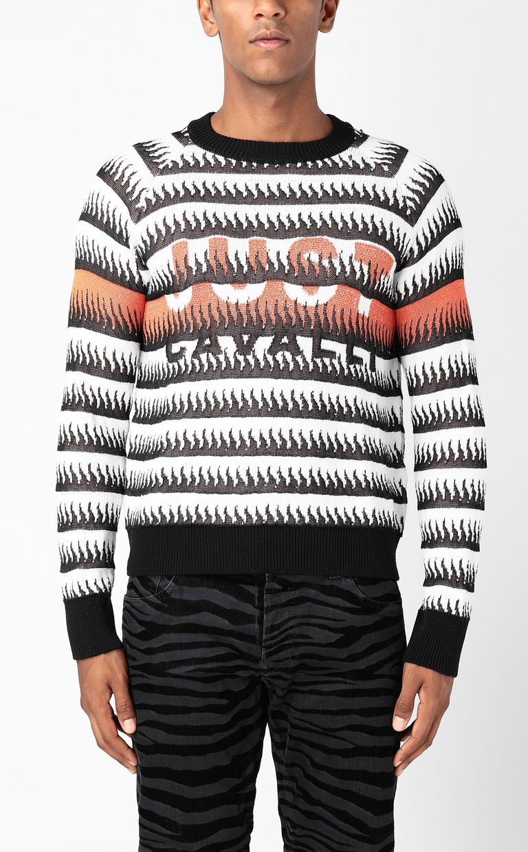 JUST CAVALLI Pullover with flames pattern Long sleeve sweater Man r