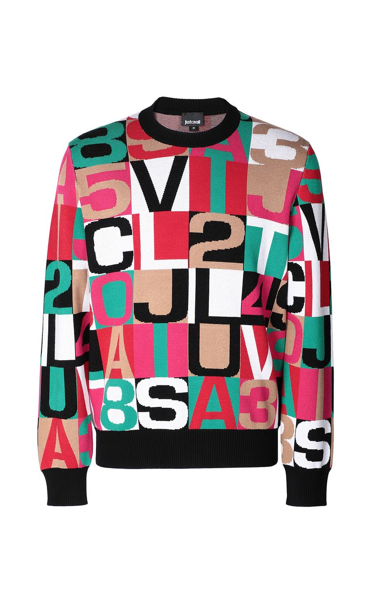 JUST CAVALLI Pullover with lettering Long sleeve sweater Man f