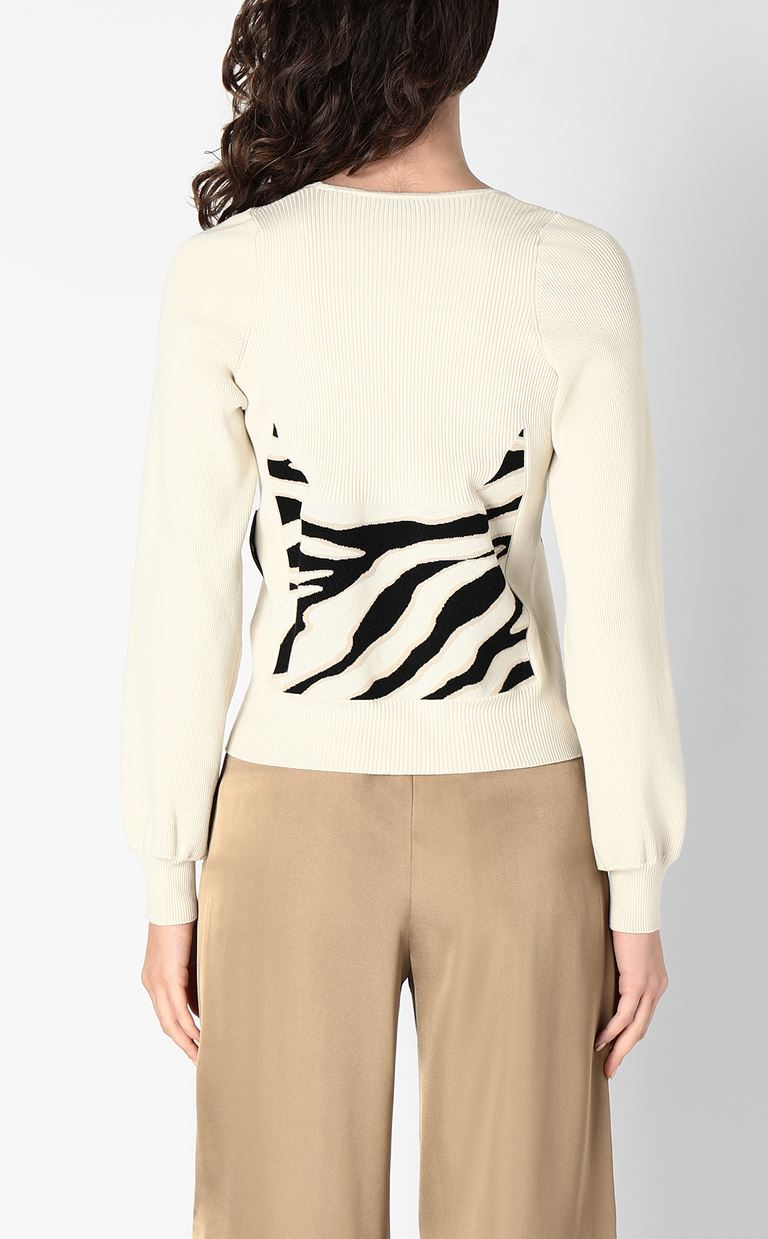 JUST CAVALLI Sweater in zebra-stripe jacquard Long sleeve sweater Woman a