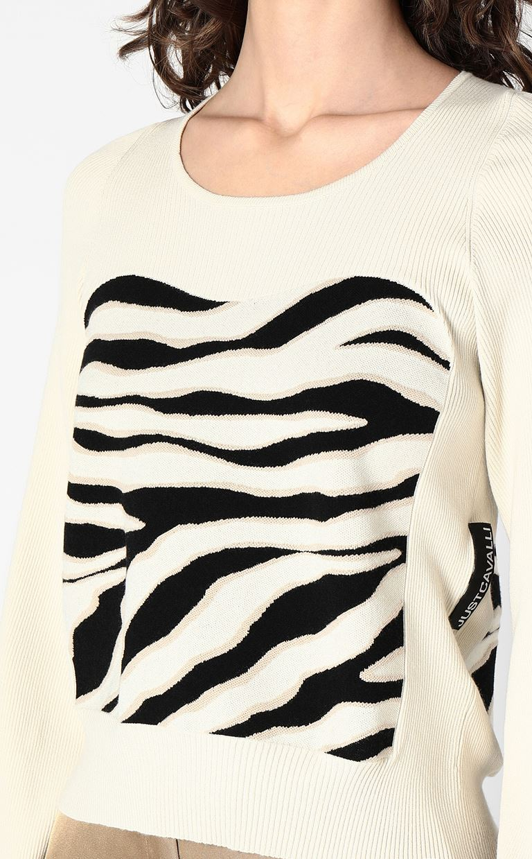 JUST CAVALLI Sweater in zebra-stripe jacquard Long sleeve sweater Woman e