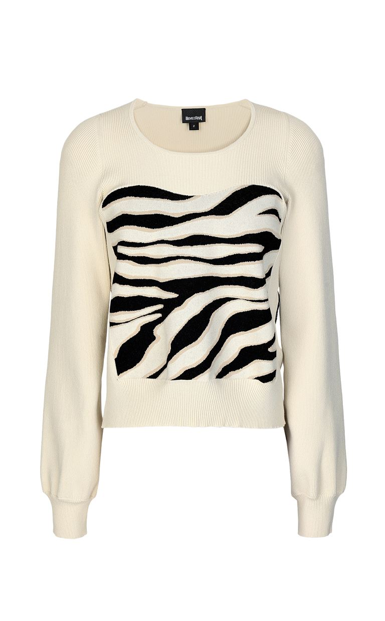 JUST CAVALLI Sweater in zebra-stripe jacquard Long sleeve sweater Woman f