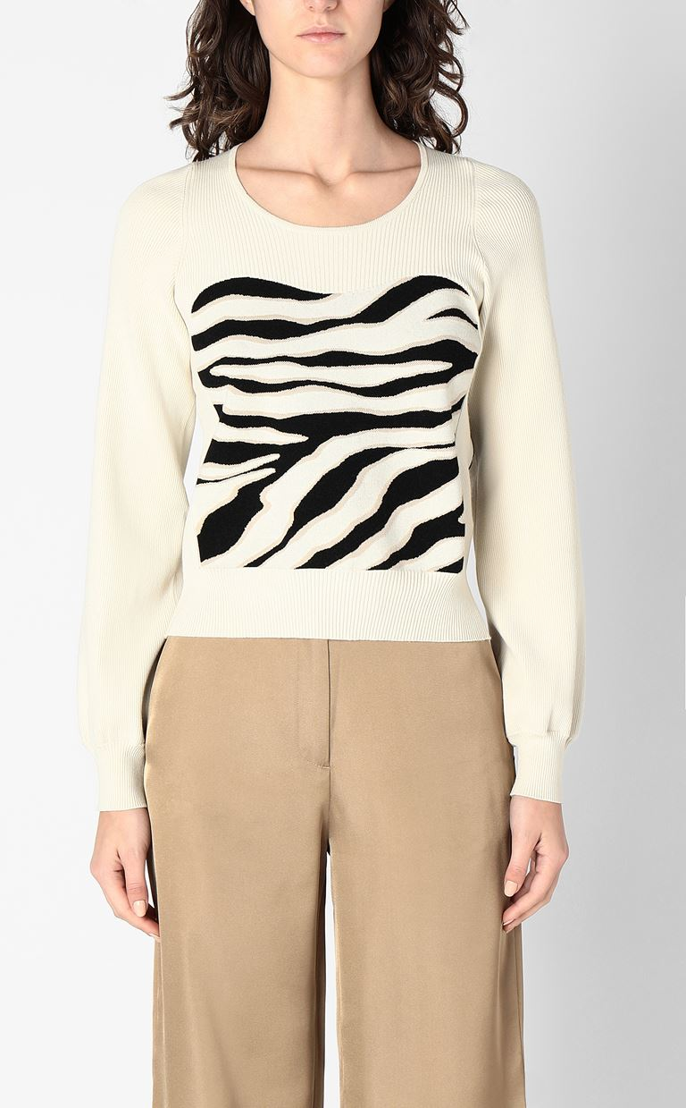 JUST CAVALLI Sweater in zebra-stripe jacquard Long sleeve sweater Woman r