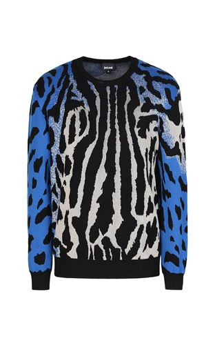 JUST CAVALLI Long sleeve sweater Man Pullover with Optical-Zebra pattern f