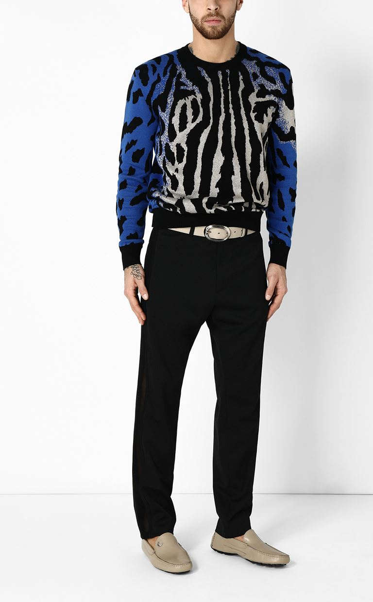 JUST CAVALLI Pullover with animal patterning Long sleeve sweater Man d