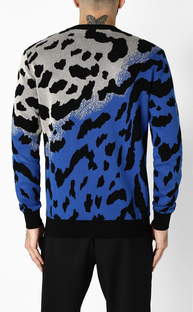 JUST CAVALLI Pullover with animal patterning Long sleeve sweater Man e