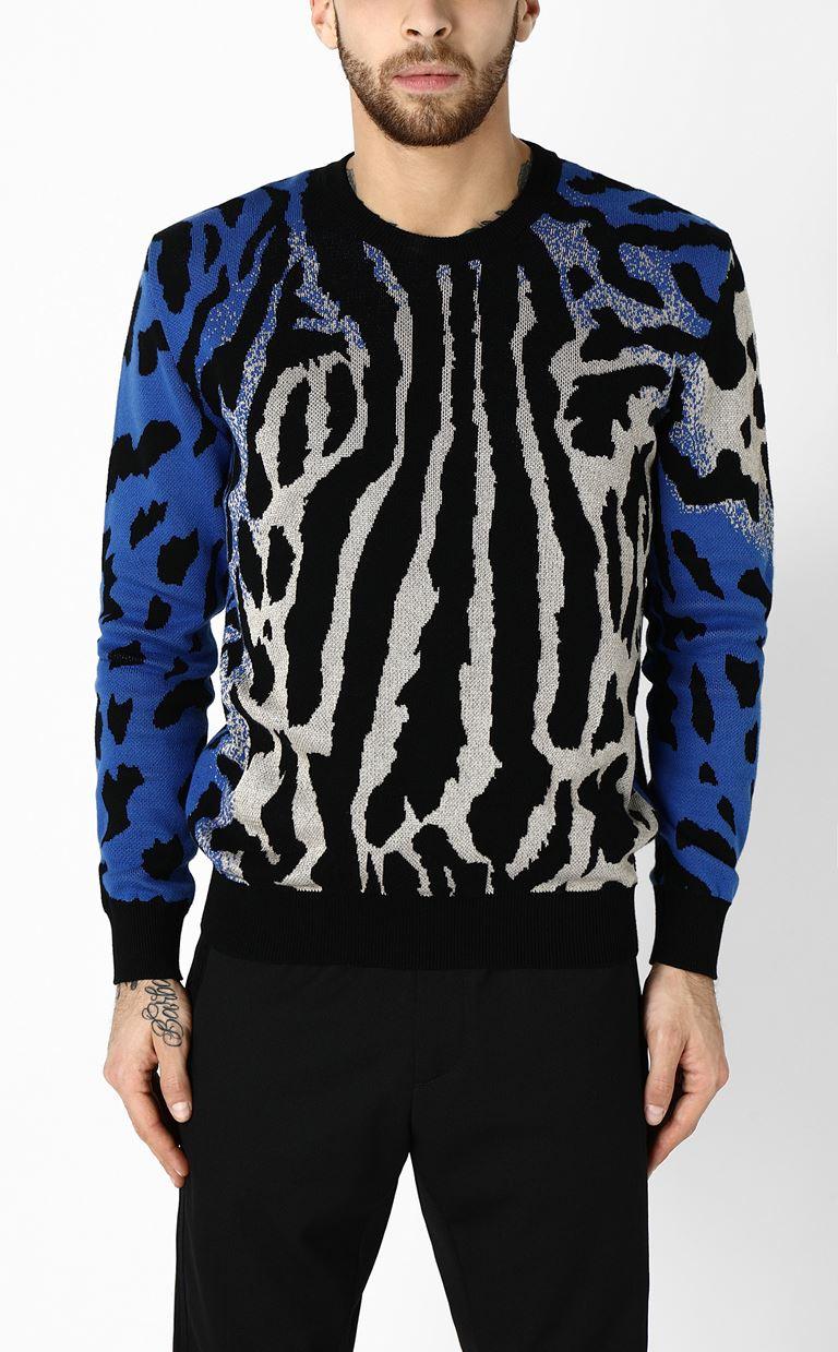JUST CAVALLI Pullover with animal patterning Long sleeve sweater Man r