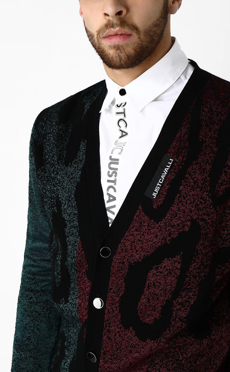 JUST CAVALLI Jacquard-leopard cardigan Cardigan Man a