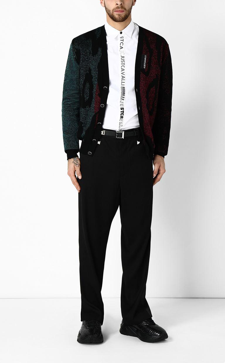 JUST CAVALLI Jacquard-leopard cardigan Cardigan Man d