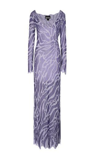 Full-length zebra-stripe dress
