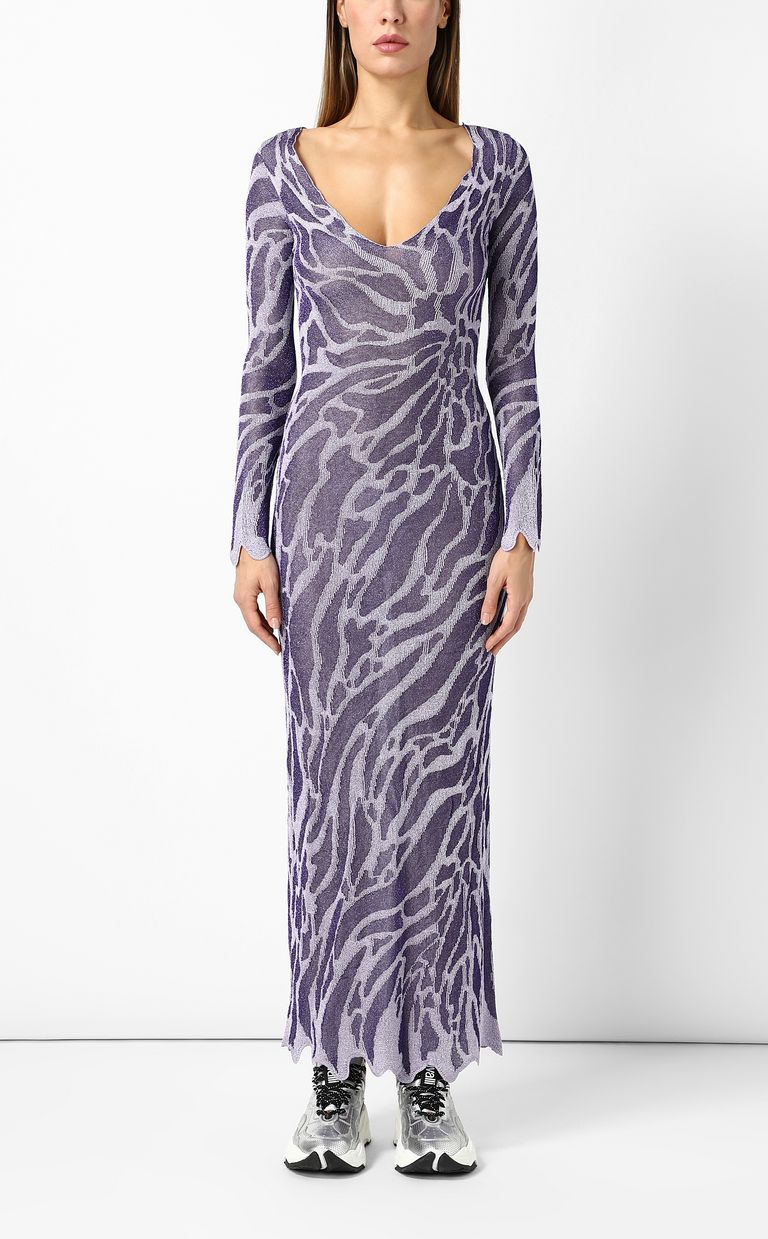 JUST CAVALLI Full-length zebra-stripe dress Long dress Woman r