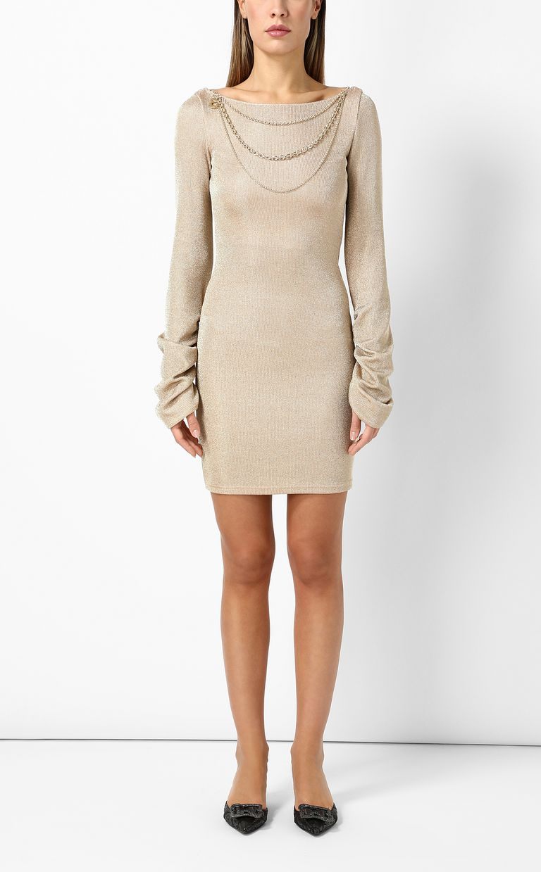 JUST CAVALLI Short dress in metallic gold Dress Woman r