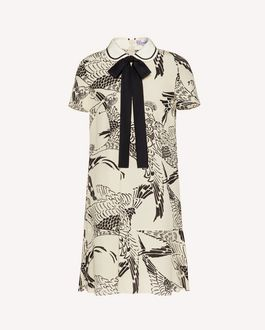 REDValentino Silk dress with Phoenicians print and collar detail