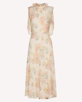 REDValentino Lamé viscose dress with Evanescent Flowers print