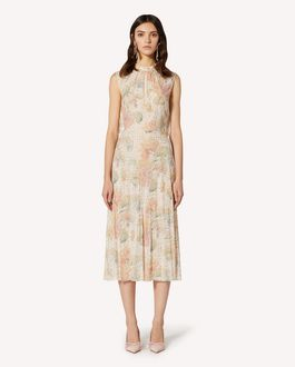 REDValentino Evanescent Flowers printed lamé viscose dress