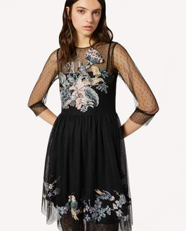 REDValentino Antique Flowers embroidered point d'esprit tulle dress