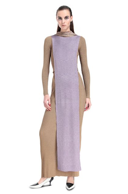 MISSONI Long dress Gold Woman - Back