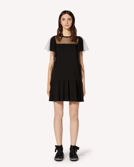 Jersey dress and point d'esprit tulle
