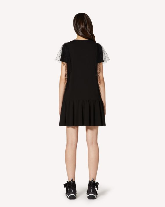REDValentino Jersey dress and point d'esprit tulle