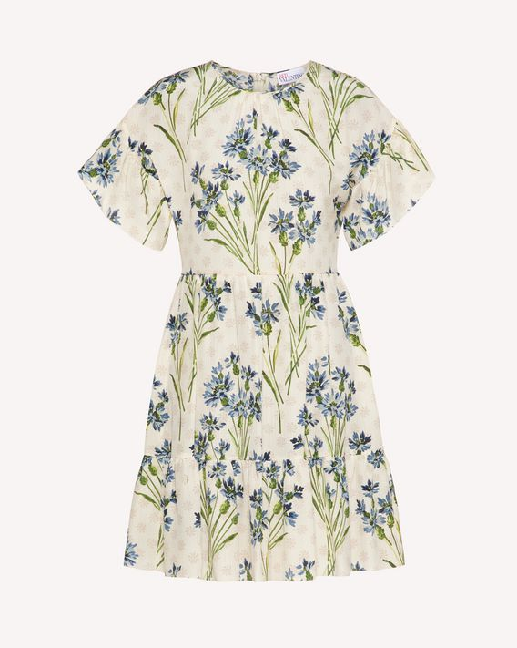 REDValentino Silk dress with Fleur-de-lis print