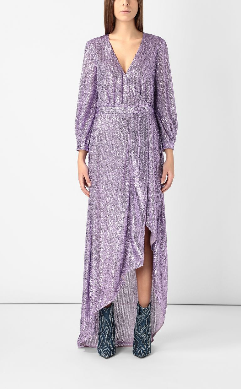 JUST CAVALLI Wrap dress with sequins Long dress Woman r