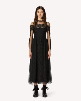 REDValentino Point d'esprit tulle and lace dress with macramé ribbons