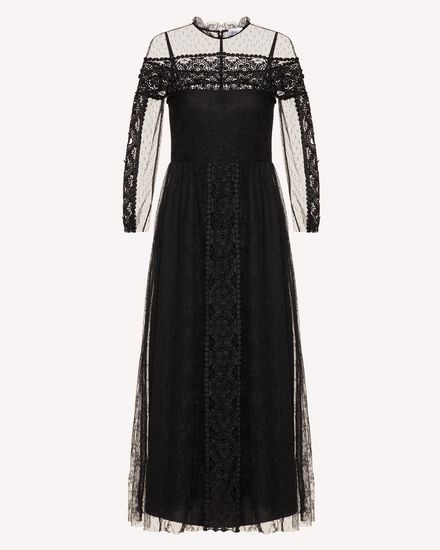Point d'esprit tulle and lace dress with macramé ribbons